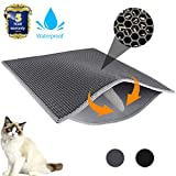 Waretary Professional Cat Litter Mat, XL Jumbo 30' x 24', Honeycomb Double Layer Waterproof Urine Proof Trapping Mat for Litter Boxes, Large Size Easy Clean Scatter Control (Grey)