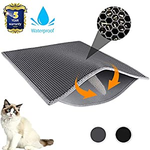 Waretary Professional Cat Litter Mat, Jumbo Honeycomb Double Layer Waterproof Urine Proof Trapping Mat for Litter Boxes, Large Size Easy Clean Scatter Control (Grey/Black) 15