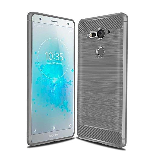 Sony Xperia XZ2 Compact Case, Cruzerlite Carbon Fiber Shock Absorption Slim Case for Sony Xperia XZ2 Compact (2018) (Gray)