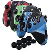 YoRHa Silicone Cover Skin Case for Microsoft Xbox One X & Xbox One S controller x 3(Camouflage red&Camouflage blue&Camouflage green) With PRO thumb grips x 8