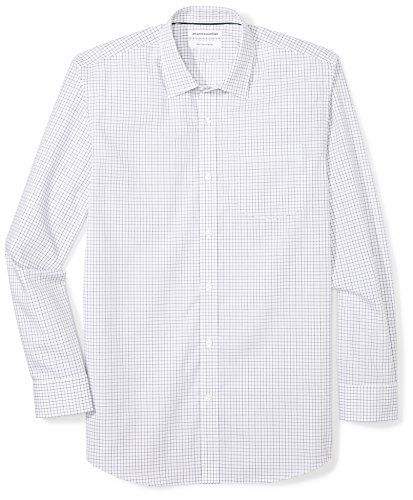 - Amazon Essentials Men's Regular-Fit Wrinkle-Resistant Long-Sleeve Plaid Dress Shirt, Blue Tattersall, 16