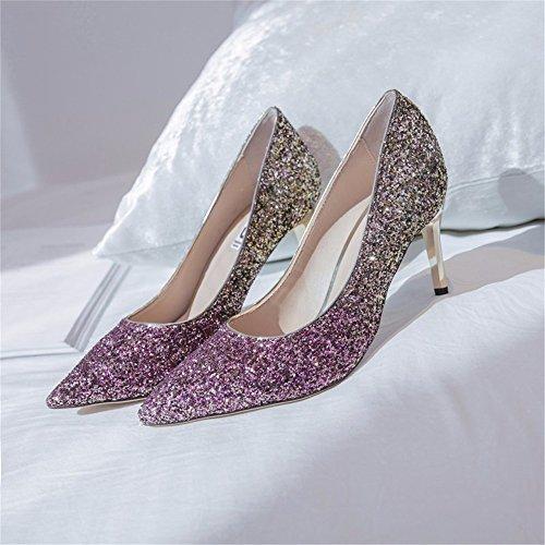 HXVU56546 Cristal Degradado Nuevo Señoras Tacones Lentejuelas Fina Con Parte De Moda Zapatos Purple gold