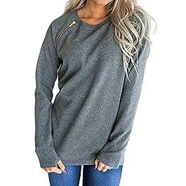 Orangeskycn Grey Sweatshirt Womens Fashion Solid O-Neck Long Sleeve Zipper Pullover