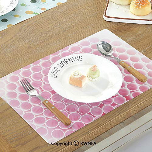 SfeatruMAT Heat Insulation Table Mats Culinary Cupcakes Cakes Creams Cherries Candles Artwork Image Print Non-Slip Heat Resistant Decor Placemat Petrol Blue Ginger Ruby White ()