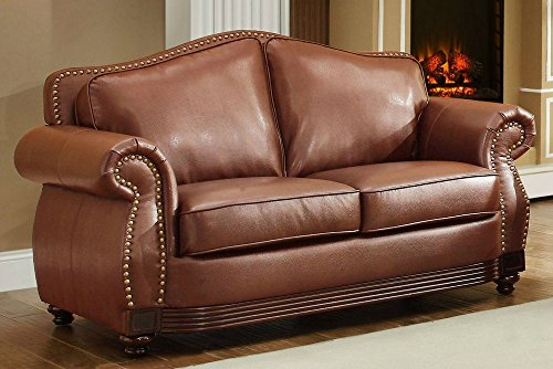 - Homelegance 9616BRW-2 Loveseat Bonded Leather, Dark Brown