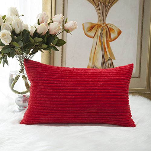 (HOME BRILLIANT Decor Decorative Striped Corduroy Solid Cushion Cover Throw Oblong Pillowcase for Kids Toddler, 12 x 20, Red)