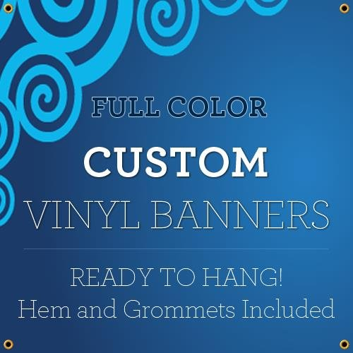 Custom Full Color Vinyl Banners with Grommets True Solvent Ink Signs (2 x - Full Banner Vinyl Colour