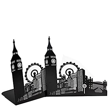 Winterworm Vintage Fashion Famous Landmark of Europe and America Iron Metal Decorative Bookends Book End Book Organizer For Library School Office Home Deck Gift (Big Ben and London Eye)