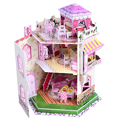 Rooftop Romance 3D Puzzle Dollhouse for Girls - Easy to Assemble 3-D Miniature Doll House Building Kit with LED Light for Kids - Educational Paper Jigsaw Puzzles - Perfect Craft Toys Gift - 101 Pcs for $<!--$16.98-->