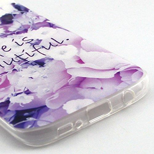 ikasus - Carcasa ultra fina de silicona suave resistente a los arañazos para Galaxy S7 (2016) Purple Flower