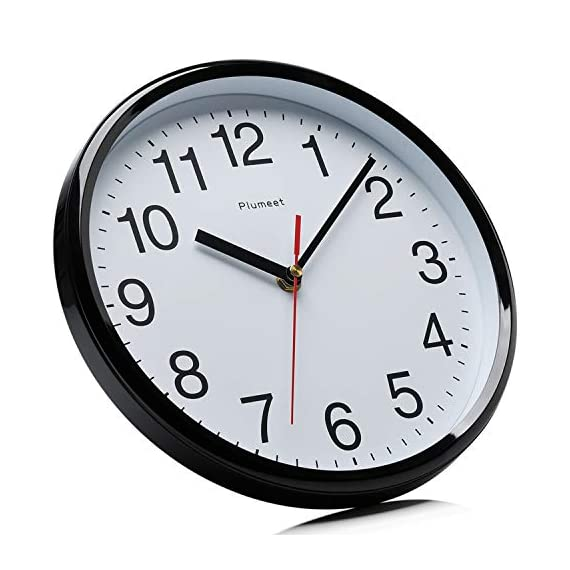 """Plumeet Silent Wall Clock - 10"""" Non Ticking Quartz Black Wall Clocks - Simple Design Wall Clocks for Living Room Decor - Battery Operated (White Face) - Non Ticking -- Precise quartz movements to guarantee accurate time, quiet sweep second hand ensure a good sleeping and work environment. Easy to Read -- Silent wall clocks with traditional numbers are clear to read, front glass cover guarantees perfect view. Concise Style -- Simple and elegant modern style can meet your all decorative need for home/school /office. - wall-clocks, living-room-decor, living-room - 51SoHTUAAOL. SS570  -"""