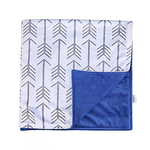 Towin Baby Arrow Minky Double Layer Receiving Blanket, Navy Blue 30