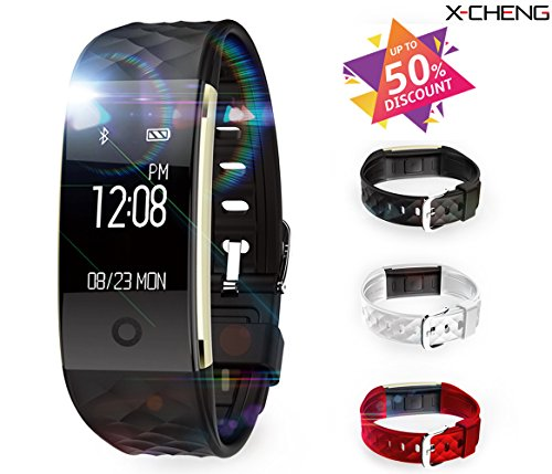 X-CHENG Fitness Tracker - IPX7 Waterproof OLED Touch Screen - Equipped with 3-color Watch Bands - Heart Rate Monitors& Pedometer& Information Reminde.etc - Wireless Activity Trackers Smart Bracelet .