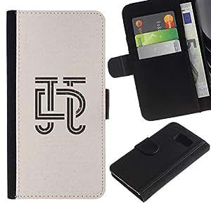 All Phone Most Case / Oferta Especial Cáscara Funda de cuero Monedero Cubierta de proteccion Caso / Wallet Case for Samsung Galaxy S6 // art deco letras de caligrafía diseño insignia