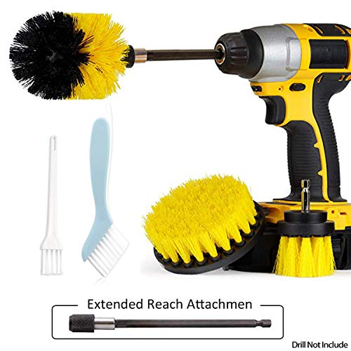 JUSONEY 6 Piece Drill Brush Extended Long Attachment Power Scrubber Cleaning Set- Purpose for Cleaning Pool Tile, Sinks, Bathtub, Brick, Ceramic, Marble, Auto, Boat