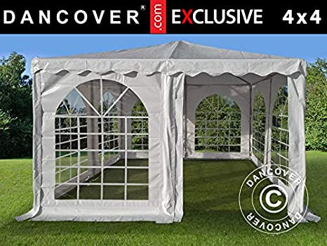 Dancover Carpa Pagoda Exclusive 4x4m PVC, Blanco: Amazon.es: Jardín