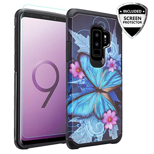 GALAXY WIRELESS For Galaxy S9 Plus Case,Samsung Galaxy S9 Plus Case Screen Protector Dual Layer Hybrid Shock Proof Heavy Duty Case Cover Protective Phone Cases for Galaxy S9+/S9 Plus - Blue Butterfly