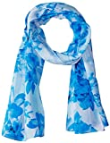 Calvin Klein Women's Shadow Stripe Floral Scarf, Sea Glass, One Size