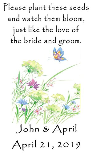 [Personalized Wedding Favor Wildflower Seed Packets Butterfly Flowers Design 6 verses to choose from] (Wedding Favors Wildflower Seeds)