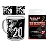 1art1 Set: Resident Evil, Anniversary Photo Coffee Mug (4x3 inches) and 1 Resident Evil, Credit Card Holder Wallet for Fans Collectible (4x3 inches)