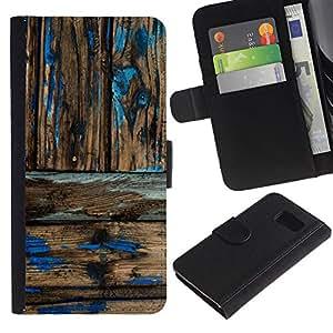 WINCASE ( No Para S6 EDGE ) Cuadro Funda Voltear Cuero Ranura Tarjetas TPU Carcasas Protectora Cover Case Para Samsung Galaxy S6 SM-G920 - patrón de madera rústica desgastada pintura