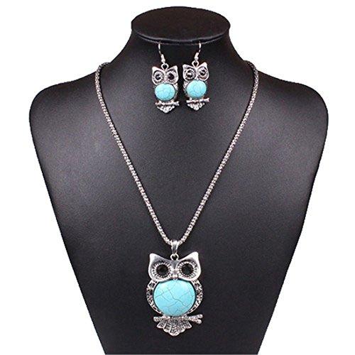 Qiyun (TM) Turquoise Blue Owl Pendant Chain Necklace Dangle Earrings Cuff Bracelet Set (Dangle Cuff Bracelet)