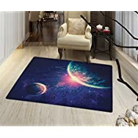 "Galaxy Door Mat Small Rug Outer Space Theme Planet Earth Mars in Space Discovery of Universe Astronomy Art Bath Mat for tub Bathroom Mat 16""x24 Navy Blue Pink"