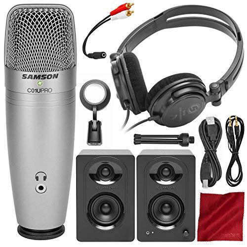 (Samson C01U Pro Recording Pack w/USB Microphone, Headphones, and Software + MediaOne M30 Studio Monitors Bundle)