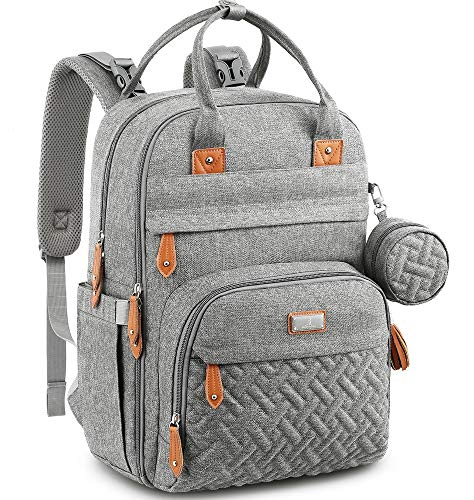 Diaper Bag Backpack, BabbleRoo Baby Nappy Changing Bags Multifunction Waterproof Travel Back Pack with Changing Pad & Stroller Straps & Pacifier Case, Unisex and Stylish (Gray)