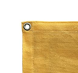 Shatex 12ftx16ft  90% UV Block Outdoor Sunscreen Shade Panel, Patio/Window/RV Awning,Taped Edge with Grommet, Golden Wheat