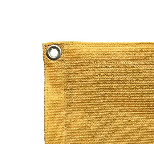 Shatex 90% Wheat 8x12ft New Design Sun Shade Privacy Panel with Grommets -UV Resistant fabric for patio/pergola/RV awning -Free Bungee Ball Cords (Knitted Shade Panel)