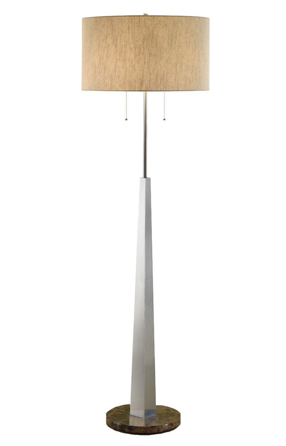 Artiva USA Luxor, Contemporary Design, 68-Inch Square-tapered Brushed Steel Floor Lamp with Marble Base and Rounded Tan Shade