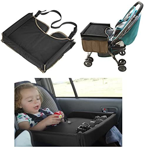 XMDZ kids Car Seat Table Snack and Play Travel Tray for Stroller Pram Pushchair Car Back Seat Organiser with 2 Mesh Storage Pockets for Water Bottles Toys Paint Brushes