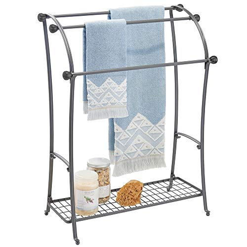 mDesign Large Freestanding Towel Rack Holder with Storage Shelf - 3 Tier Metal Organizer for Bath & Hand Towels, Washcloths, Bathroom Accessories - Graphite Gray