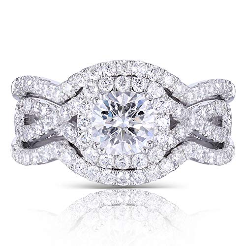 DovEggs Customer Payment Link Platinum Plated Silver Center 1.1ct 6X6mm H-I Color Cushion Cut Created Moissanite Halo Engagement Ring Bridal Set 3 Pieces (8) Created Moissanite Engagement Set