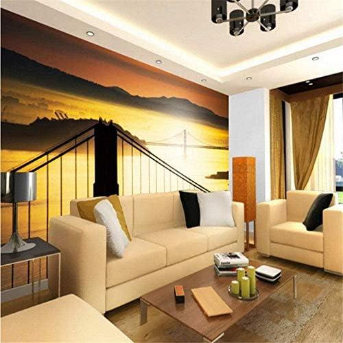 Bosakp カスタム壁紙ビーチ夕日ケーブルブリッジ風景壁画リビングルームテレビ背景レストランロビーカフェ壁画 100X50Cm