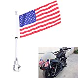EasyGO Motorcycle Bike Rear Mounting Pole Skull Face Flag Chrome For Harley Touring Sportster Dyna Softail Tri Luggage Rack (US Flags)