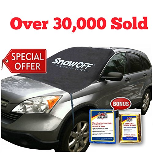 Cover Snow Shield - SnowOFF Car Windshield Snow Ice Cover - Sun Shade Protector - WINDPROOF Straps, Wings, Suction Cups, Magnets - BONUS Demist Cloth + Blanket - Winter Ice Rain Frost Automotive Hood Covers - Fits Cars
