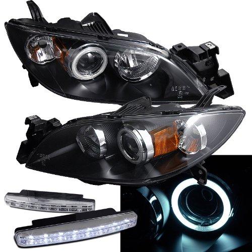 2004-2008 Mazda 3 Halo Headlights Projector + 8 Led Fog Bumper Light (Mazda 3 Halo Headlights)