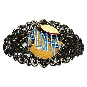 Chicforest Bronze Retro Style Aloha On The Hawaii Sand Flower Cuff Bracelet