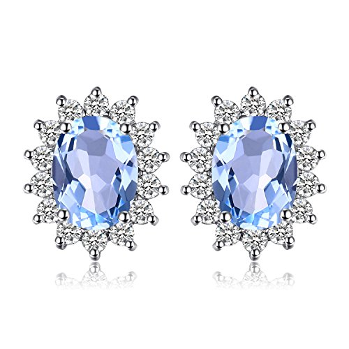 - Jewelrypalace Gemstones Birthstone 1.2ct Natural Blue Topaz Stud Earrings For Women 925 Sterling Silver Earrings For Girls Princess Diana William Kate Halo Earrings