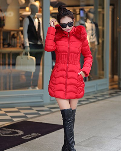 Women Red with Cotton Quilted Front Outcoat Blend Waterproof Fit Jacket Slim Collar Stand Zipper Cihui d6Bqq