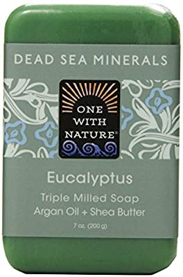 One With Nature Eucalyptus Soap (Pack of 3) With Dead Sea Minerals, Argan Oil, Shea and Eucalyptus Essential Oil, 7 oz. Each