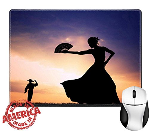 "Luxlady Natural Rubber Mouse Pad/Mat with Stitched Edges 9.8"" x 7.9"" IMAGE ID 21164112 Flamenco silhouette at (Latin Fiesta Costume)"