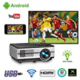 Portable LCD Smart TV Wifi Projector Airplay Miracast iPhone Samsung Mac iPad LED Android Wireless Proyector Support 1080p Built-in Speakers HDMI USB AV for Xbox PS4 Wii Games DVD Blu ray Player