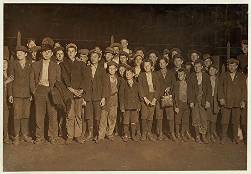 6:00 P.M. Flashlight photo of part of force going home. Sibley Mfg. Co. Augusta, Ga. Some of the smallest boys said been in mill from one to several yrs. Jan. 15, 1909. Location: Augusta, Georgia. (Light Augusta Fifteen)