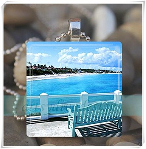 Ocean View Dream Beach Vacation Summer Water Dock Glass Tile Pendant Necklace ()