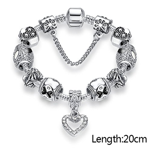 925 Unique Silver Crystal Charm Bracelet For Women Diy Beads Bracelets & Bangles Jewelry Gift 20CM -