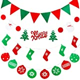 Anyasun Christmas Banners Flags Hanging Bunting 4 Pcs Christmas Door Wall Window Hanging Decoration Ornaments Home Hotel Office Party Scene for Christmas Party Decor (Includes a free card),chris4.