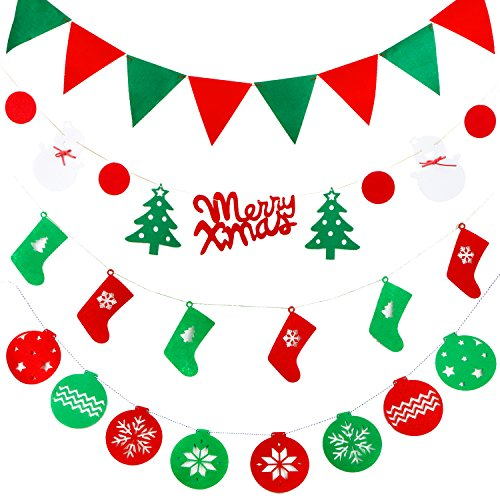 Window Scenes For Christmas - Anyasun Christmas Banners Flags Hanging Bunting 4 Pcs Christmas Door Wall Window Hanging Decoration Ornaments Home Hotel Office Party Scene for Christmas Party Decor (Includes a free card),chris4.